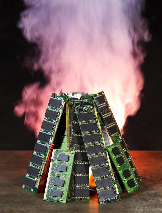 Memoria di calcolatore Burning immagini stock libere da diritti