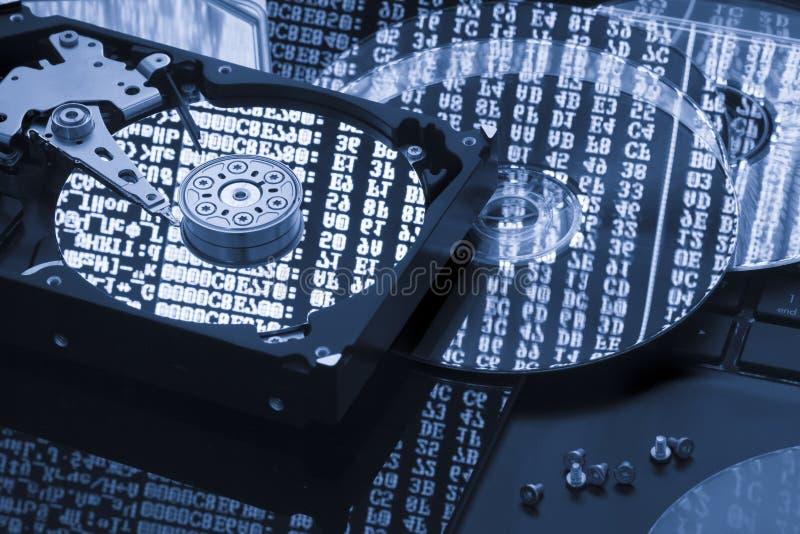 Memoria di dati del disco rigido, recupero, concetto di restore fotografia stock