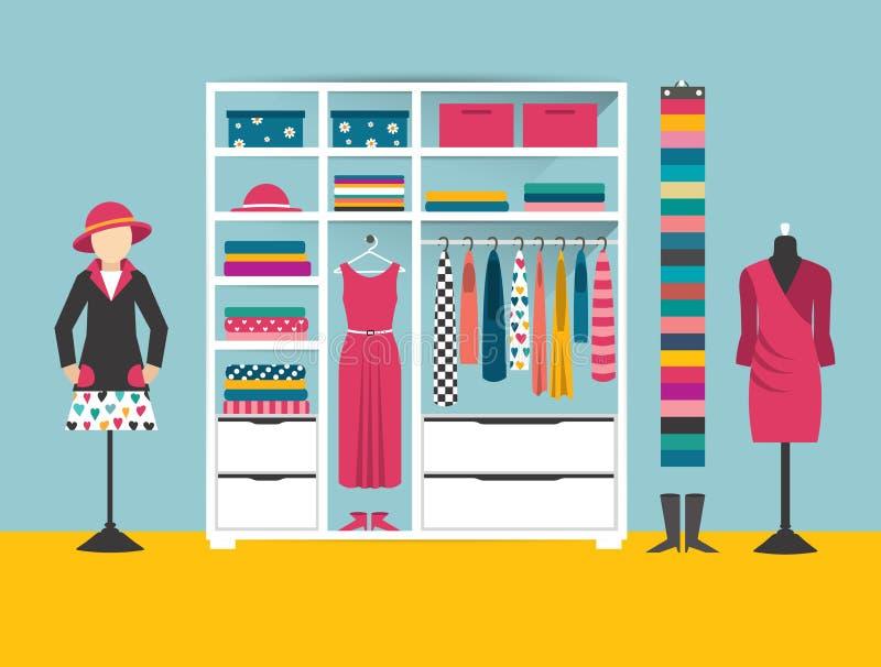 Memoria di vestiti Boutique dell'interno Illustrazione piana di vettore di progettazione illustrazione di stock