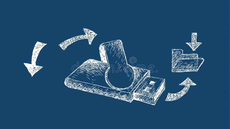 Memoria Flash del USB en fondo del proyecto original ilustración del vector