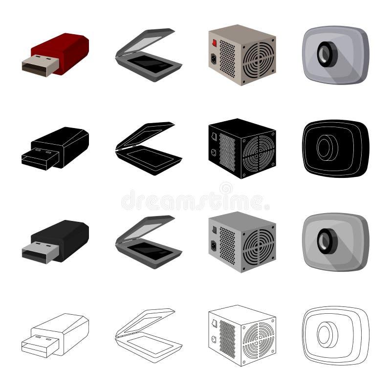 Memoria USB del material informático, escáner, fuente de alimentación, cámara web Los accesorios de ordenador fijaron iconos de l libre illustration