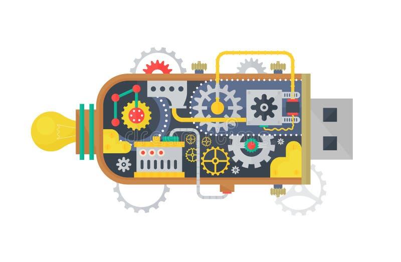 Memoria USB del vintage de Steampunk con los diversos pequeños engranajes y lámparas dentro Ilustración del vector libre illustration