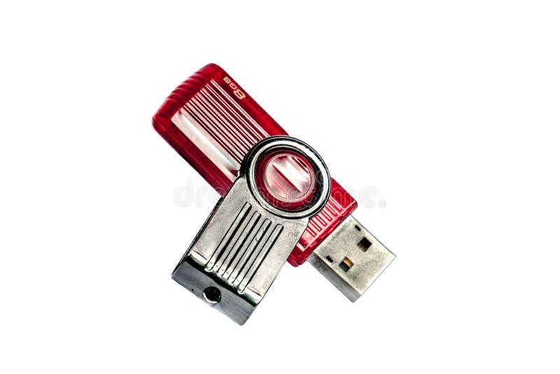 Memoria USB roja en fondo aislado fotografía de archivo