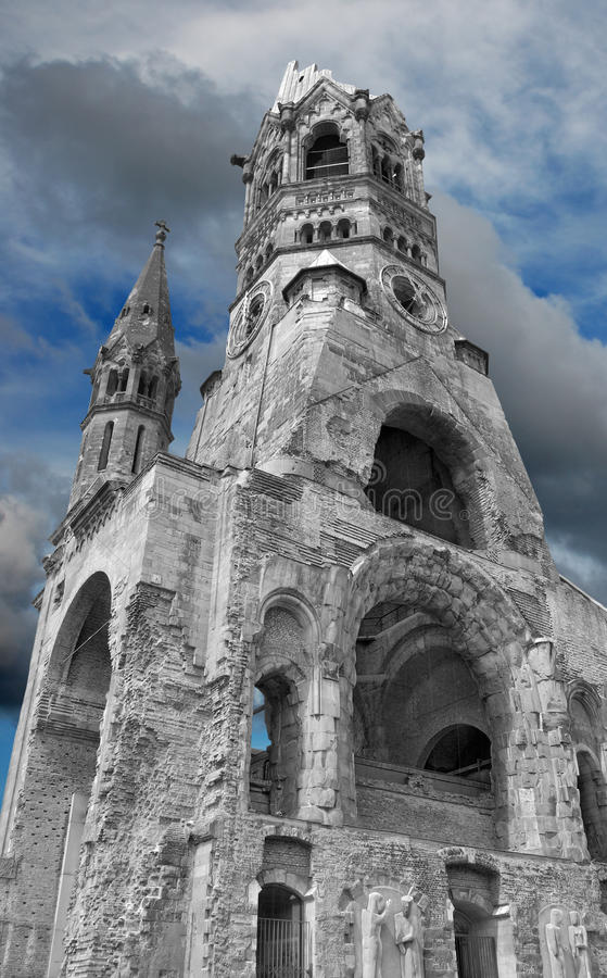 Memorial. Kaiser Wilhelm Memorial Church destroyed in the 2nd WW. Berlin, Germany royalty free stock photos