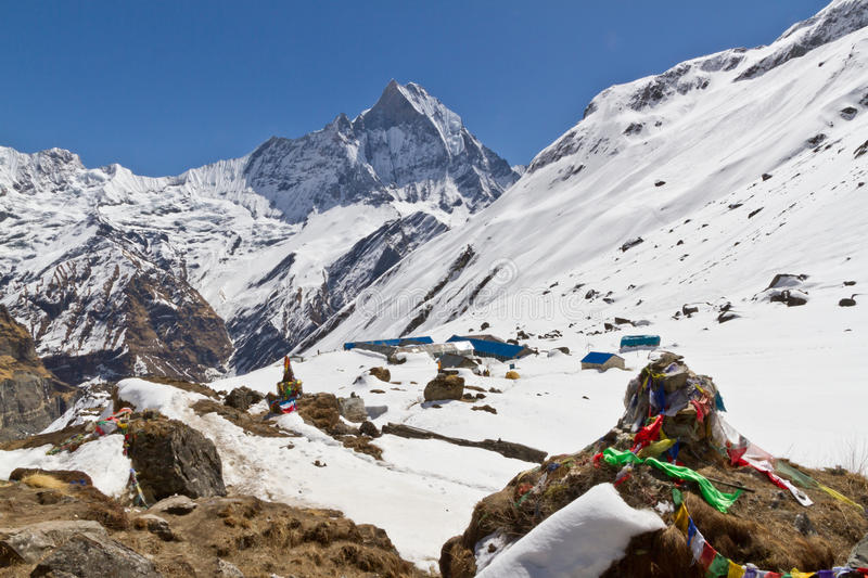 Memorial above Annapurna Basecamp. Mountaineer's memorial above Annapurna Basecamp with the summit of Machhapuchhre in the background stock photography