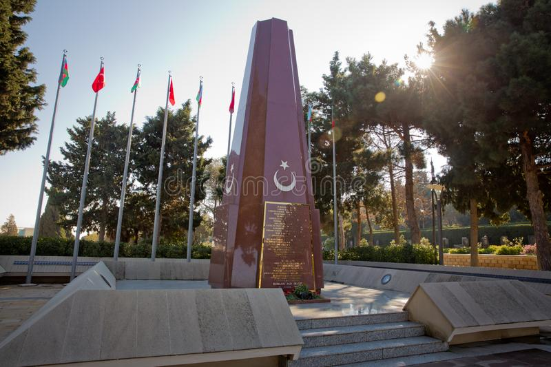 Baku Turkish Martyrs` Memorial and cemetrary dedicated to the Ottoman soldiers killed during the World War I in stock photography