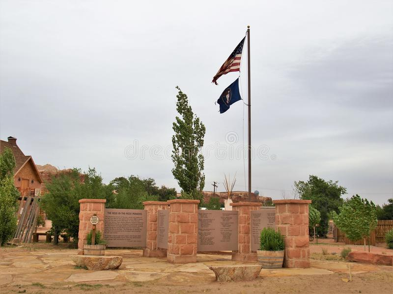 Memorial at Bluff Fort Historic Site in Bluff, Utah royalty free stock photos