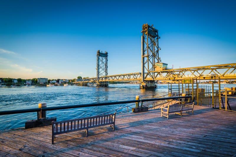 The Memorial Bridge over the Piscataqua River, in Portsmouth, Ne royalty free stock photo