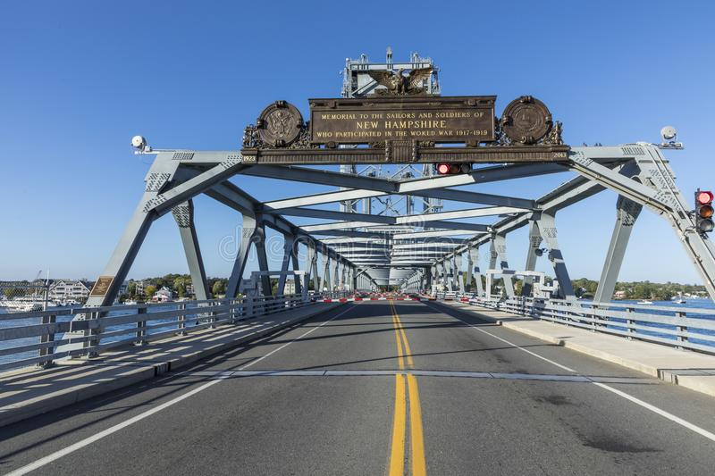 The Memorial Bridge over the Piscataqua River, in Portsmouth, w royalty free stock photography