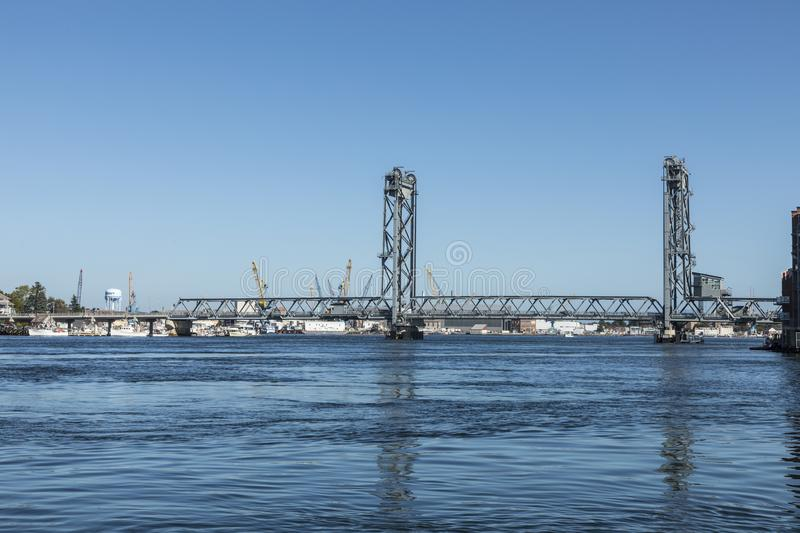 The Memorial Bridge over the Piscataqua River, in Portsmouth, w royalty free stock images