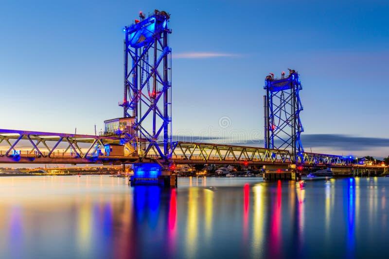 Memorial Bridge in Portsmouth royalty free stock image