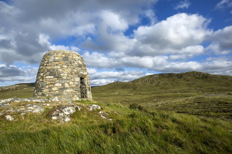 The Memorial Cairn to the Pairc Raiders Rembering the Land Heros, People of Lochs, of Lewis. Scotland, UK. stock photography