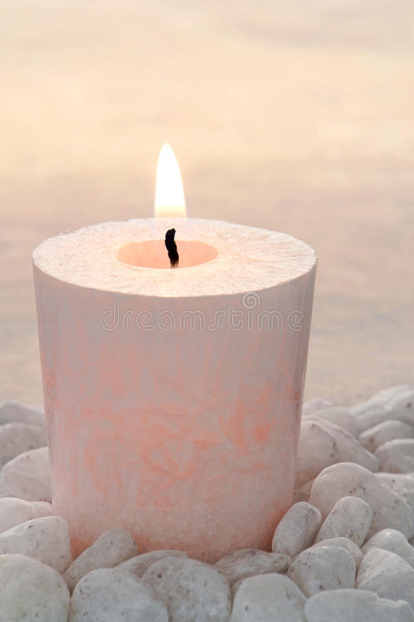 Memorial Candle Burning at Remembrance Service royalty free stock photography