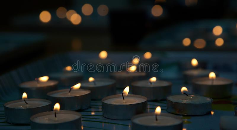 Memorial candles in memory of the Jews who died in World War II. National Day of Remembrance and Mourning in Israel and Beyond. The day on which the Jews who royalty free stock photo