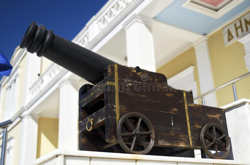 memorial cannon on Salamis town hall stock images