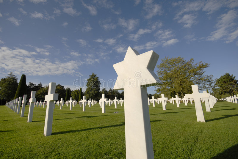 Memorial Cemetery. White marble grave stones at the American Cemetery near Omaha Beach in Normandy, France stock images