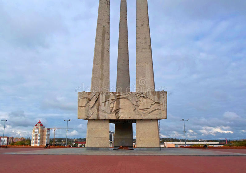 Memorial complex Three bayonets on the Victory Square in Vitebsk. Belarus - September 2016 royalty free stock photo