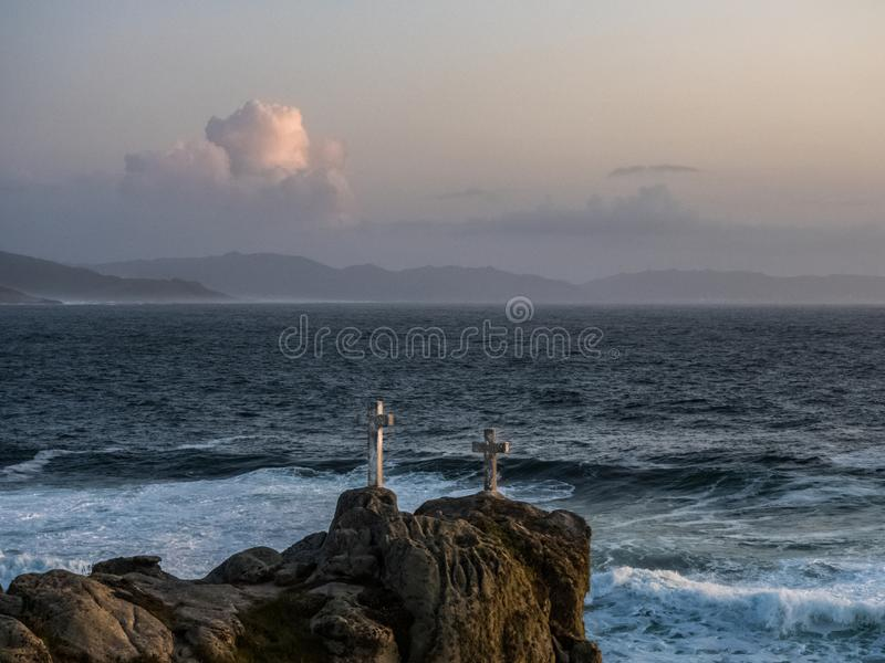 Memorial crosses for men dead in Cape Roncudo  on the coast of death  in A Coruna stock image