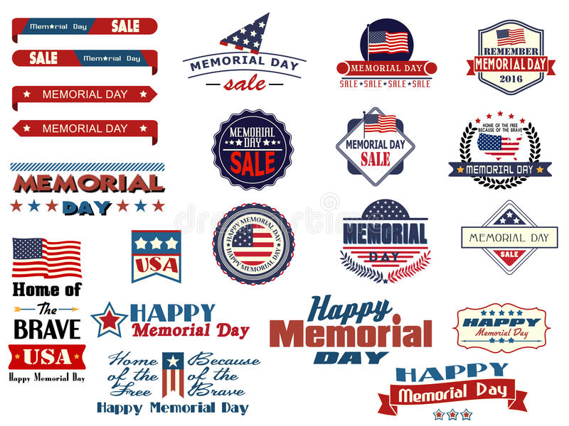 Memorial Day sale badges and stickers. Various Memorial Day sale badges and stickers royalty free illustration