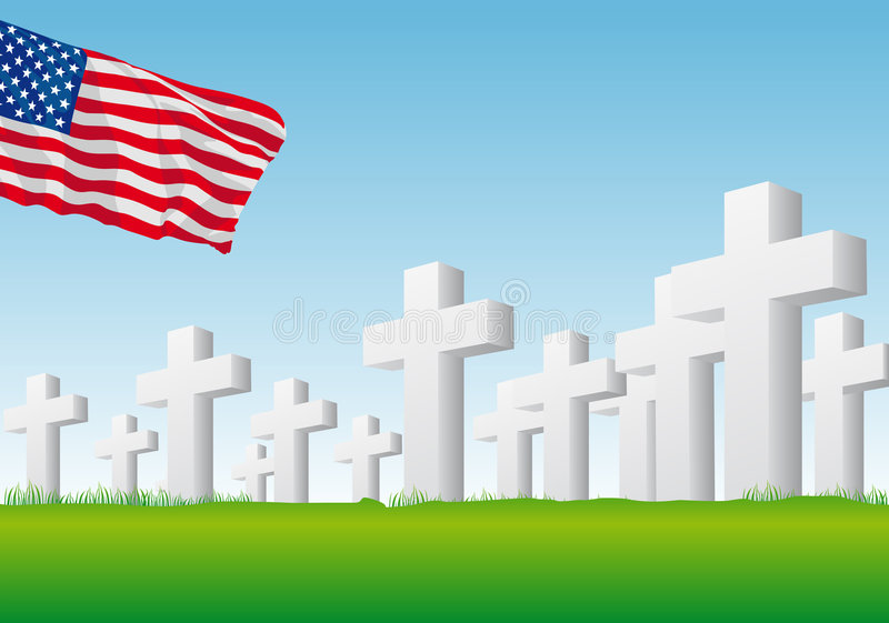 Memorial day. Abstract vector illustration of an american flag over a graveyard stock illustration