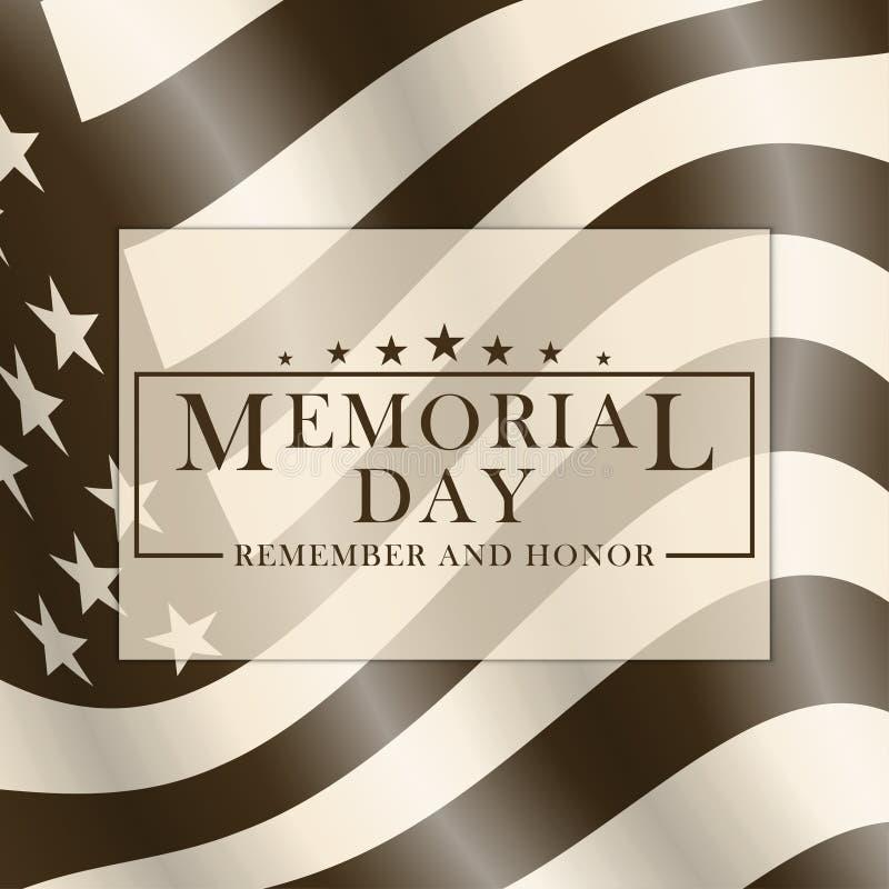 Memorial Day -achtergrond met de vlag en het van letters voorzien van de V.S. Zwart-wit malplaatje voor Memorial Day -ontwerp Her stock illustratie