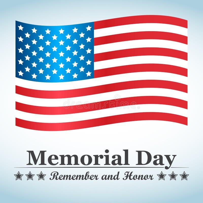 Memorial Day -achtergrond met de vlag van de V.S. Vector illustratie vector illustratie