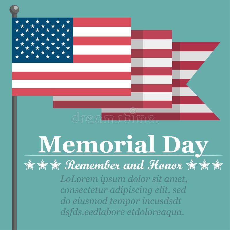 Memorial Day -achtergrond met de vlag van de V.S. Vector illustratie stock illustratie