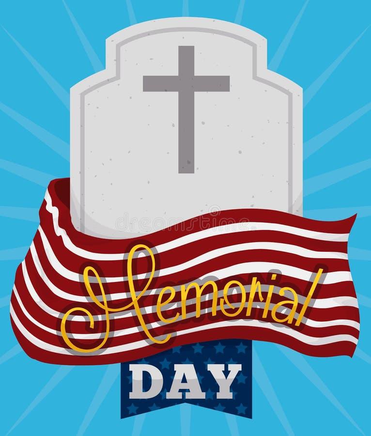 Memorial Day -Affiche met Grafsteen en Vlag, Vectorillustratie vector illustratie