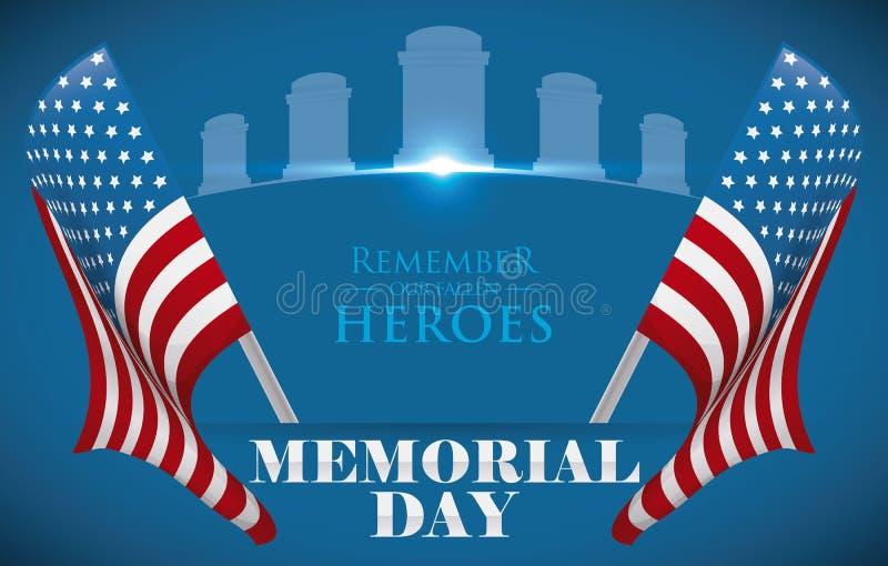Memorial Day affisch som hedrar stupade hjältar med U S A Flaggor vektorillustration stock illustrationer