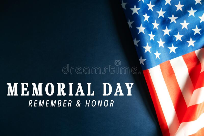 Memorial Day with American flag on blue background royalty free stock images