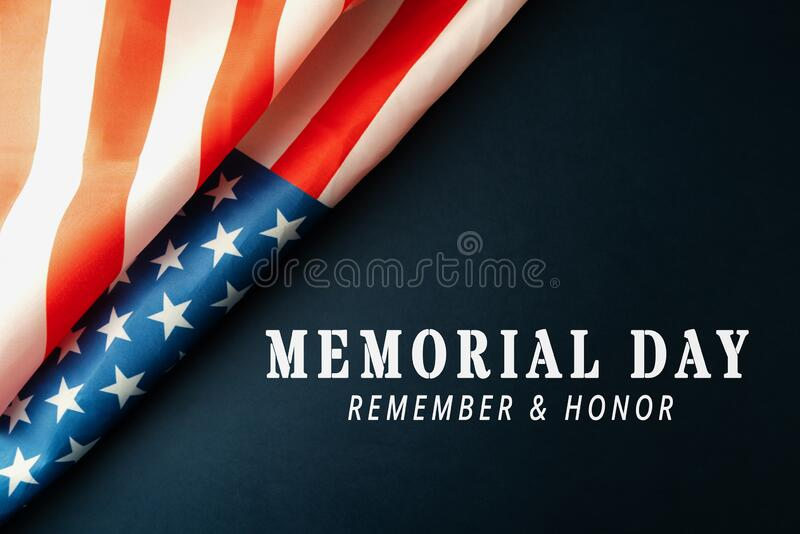 Memorial Day with American flag on blue background royalty free stock photography