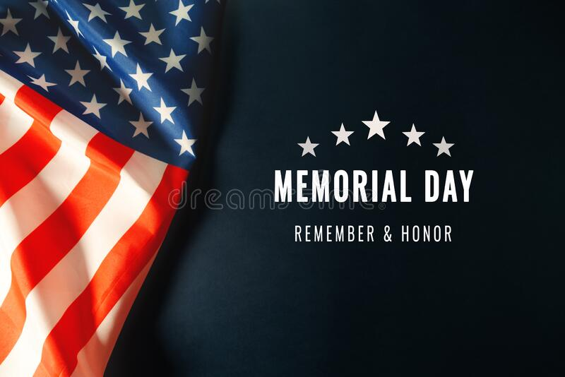 Memorial Day with American flag on blue background stock image