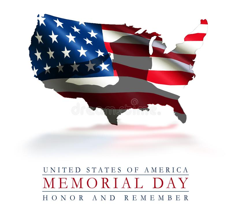 Memorial Day Amerikaans Art Flag Honor en herinnert zich stock afbeelding