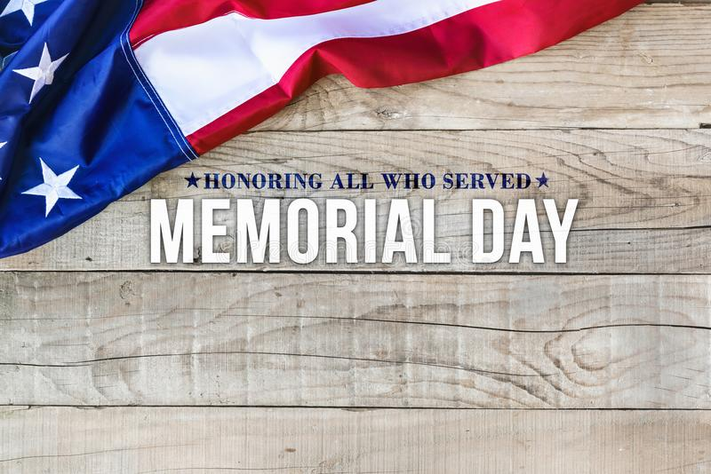 Memorial day background with american flag stock images