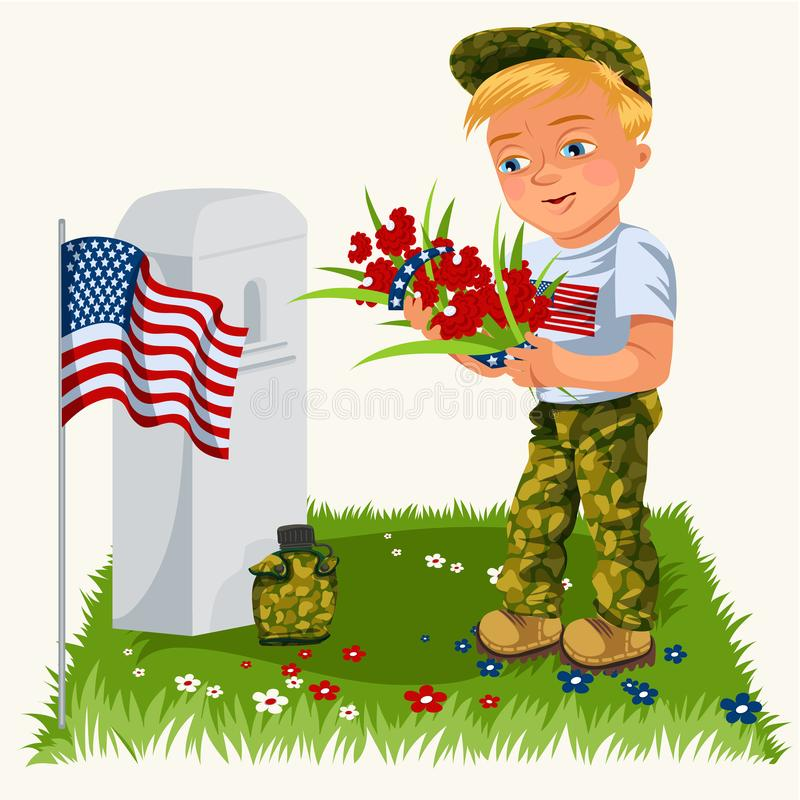 Memorial day background, American veterans lay flowers to white tombstone of monument with us flag, soldiers in uniform vector illustration