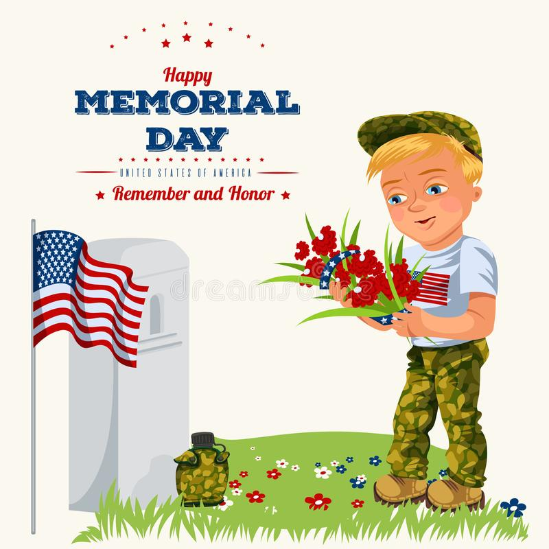 Memorial day background, American veterans lay flowers to white tombstone of monument with us flag, soldiers in uniform stock illustration