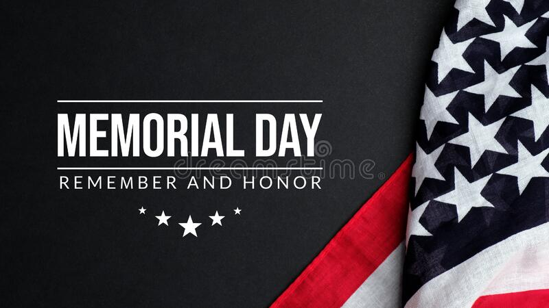 Memorial day background. Remember and Honor with American flag.  stock photos