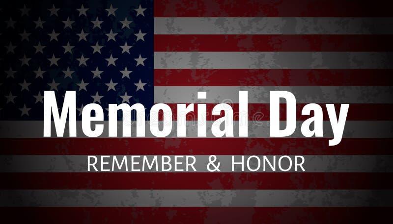 Memorial Day Background. USA Flag on dark background. royalty free illustration