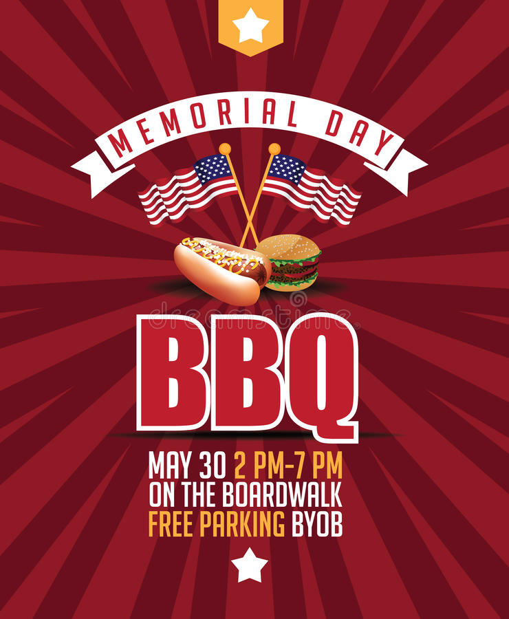 Memorial Day BBQ-Marketing-Schablone vektor abbildung