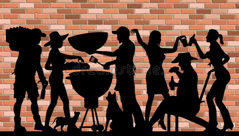 Memorial Day BBQ Party Silhouette in front of Brick Wall. The silhouette image is in a different layer and it can be use without the background and other royalty free illustration