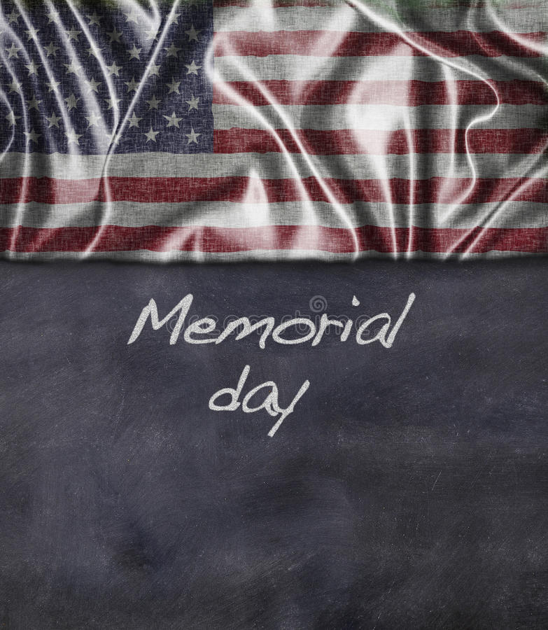 Memorial day. Blackboard with USA flag and phrase, memorial day royalty free stock image