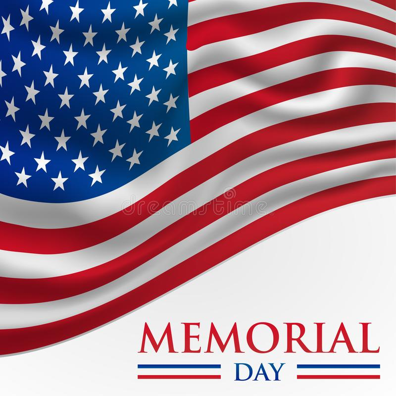 Memorial Day Card Illustration with American Flag vector illustration