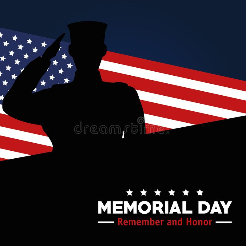 Memorial day celebration of soldier with usa flag stock illustration