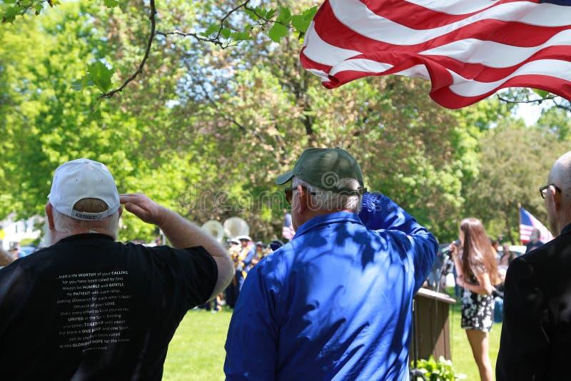 Memorial Day ceremonii chwyt w Lexington, Massachusetts na Maju 22, 2019 obraz stock