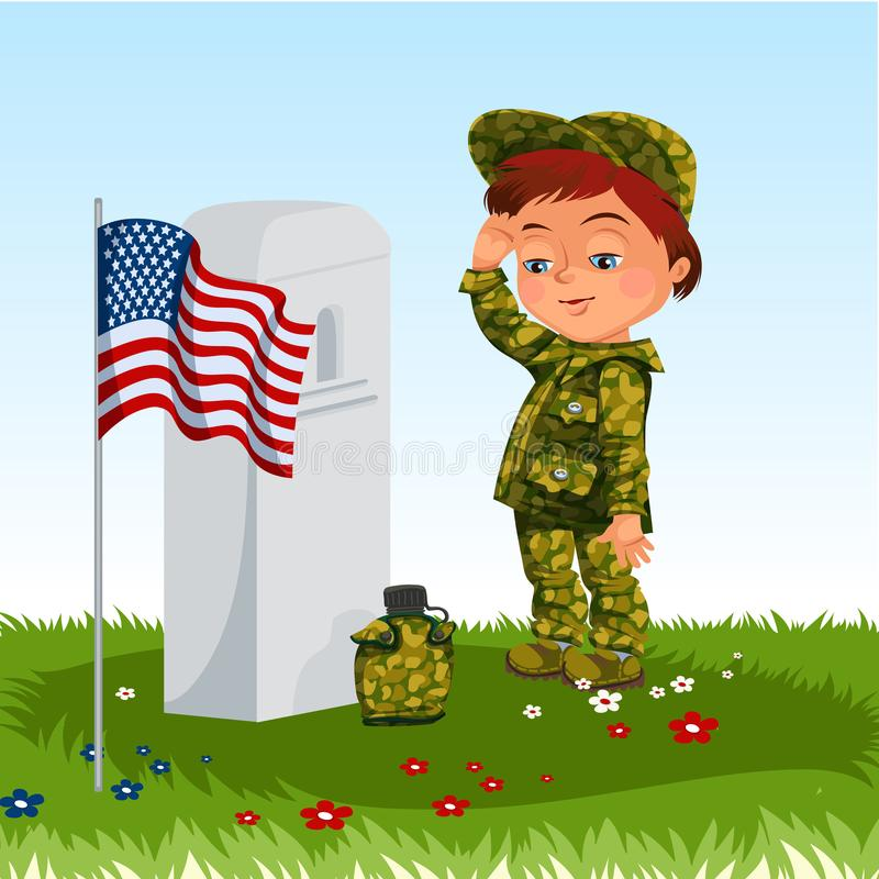 Memorial Day, childs on military cemetery,little boy in uniform salutes on grave war veteran, family children honoring royalty free illustration