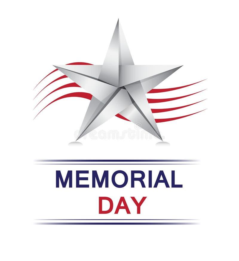 Memorial Day com estrela do origâmi ilustração royalty free