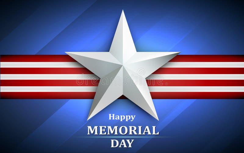 Memorial Day com a estrela no fundo da bandeira nacional Ilustração do vetor ilustração do vetor