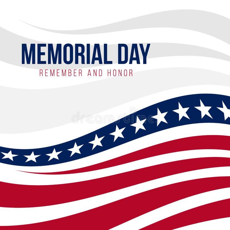 Memorial Day con diseño abstracto del vector del fondo de la bandera de Estados Unidos ilustración del vector