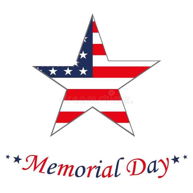 Memorial Day con la estrella en colores de la bandera nacional stock de ilustración