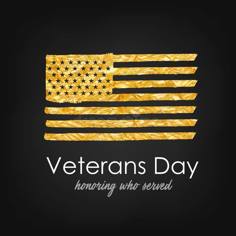 Memorial Day Día de veteranos Los E.E.U.U. señalan por medio de una bandera con textura del oro Honrando quién sirvió libre illustration